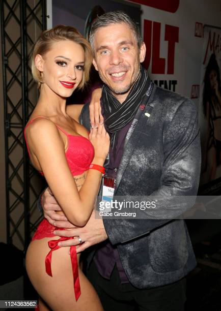Adult film actress Emma Hix and adult film actor/director Mick Blue pose at the 2019 AVN Adult Entertainment Expo at the Hard Rock Hotel Casino on...
