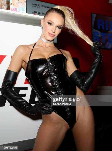 Adult film actress Emma Hix poses at the Evil Angel booth during the 2020 AVN Adult Expo at the Hard Rock Hotel Casino on January 24 2020 in Las...