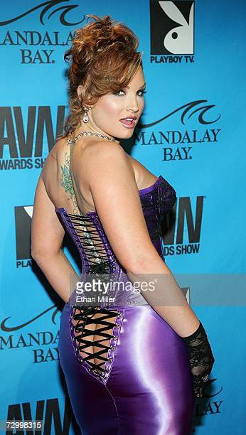 Adult film actress Flower Tucci arrives at the 24th annual Adult Video News Awards Show at the Mandalay Bay Events Center January 13 2007 in Las...