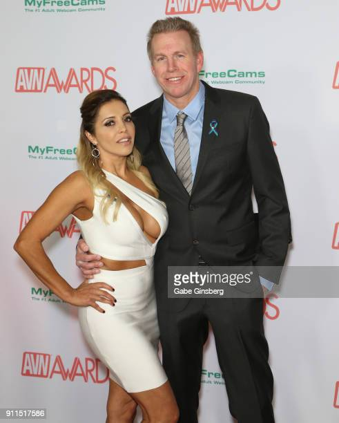 Adult film actress Francesca Le and adult film actor Mark Wood attend the 2018 Adult Video News Awards at the Hard Rock Hotel Casino on January 27...