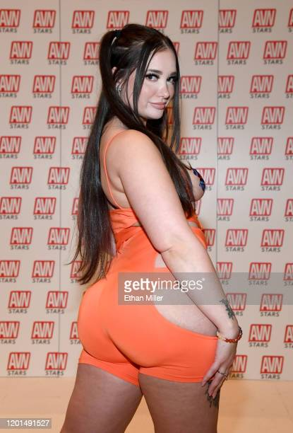 Adult film actress Gia Paige poses at the AVN Stars booth at the 2020 AVN Adult Entertainment Expo at the Hard Rock Hotel Casino on January 22 2020...
