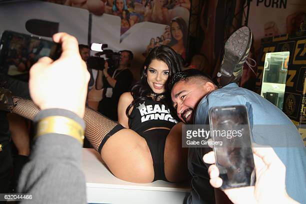 Adult film actress Gina Valentina appears in the Realty Kings booth during the 2017 AVN Adult Entertainment Expo at the Hard Rock Hotel Casino on...