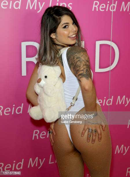 Adult film actress Gina Valentina poses in the Reid My Lips booth during the 2020 AVN Adult Expo at the Hard Rock Hotel Casino on January 22 2020 in...