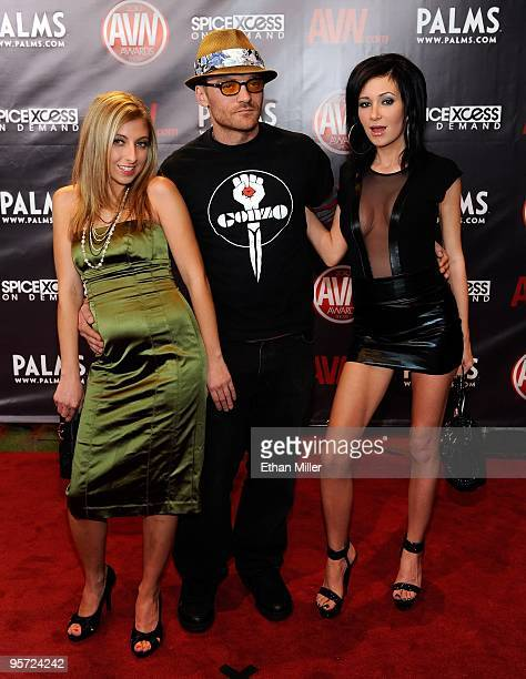 Adult film actress Hillary Scott adult film director/actor Rob Rotten and Lucy Fox arrive at the 27th annual Adult Video News Awards Show at the...
