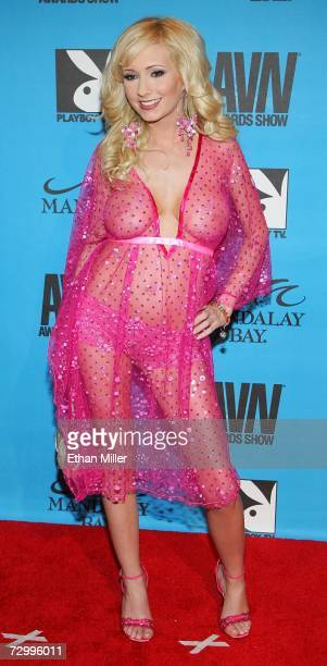 Adult film actress Hillary Scott arrives at the 24th annual Adult Video News Awards Show at the Mandalay Bay Events Center January 13 2007 in Las...