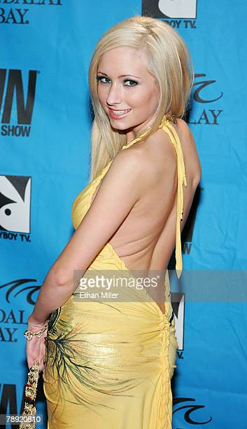 Adult film actress Hillary Scott arrives at the 25th annual Adult Video News Awards Show at the Mandalay Bay Events Center January 12 2008 in Las...