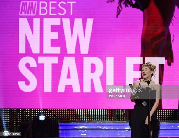 Adult film actress Ivy Wolfe accepts the award for Best New Starlet during the 2019 Adult Video News Awards at The Joint inside the Hard Rock Hotel...