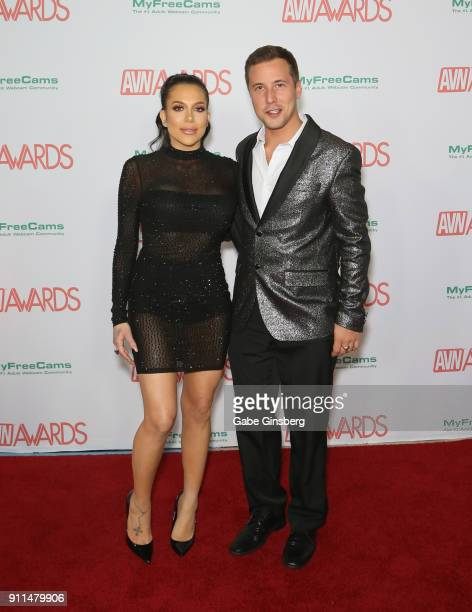 Adult film actress Jaclyn Taylor and adult film actor Jessy Jones attend the 2018 Adult Video News Awards at the Hard Rock Hotel Casino on January 27...