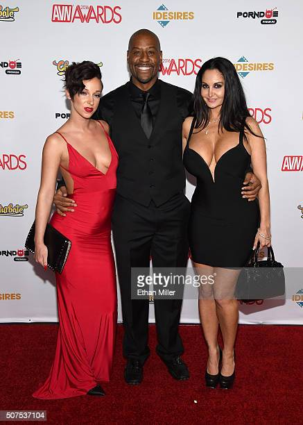 Adult film actress Jada Stevens adult film director MimeFreak and adult film actress Ava Addams attend the 2016 Adult Video News Awards at the Hard...