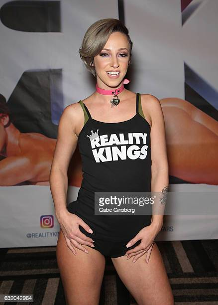Adult film actress Jada Stevens appears at the Reality Kings booth during the 2017 AVN Adult Entertainment Expo at the Hard Rock Hotel Casino on...