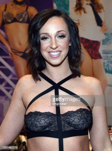 Adult film actress Jada Stevens poses at the Jules Jordan Video booth at the 2020 AVN Adult Entertainment Expo at the Hard Rock Hotel Casino on...