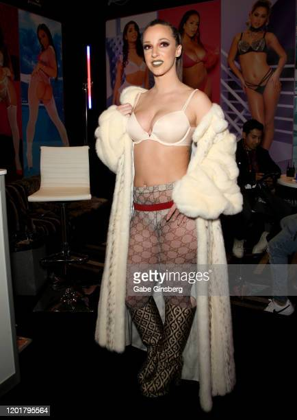 Adult film actress Jada Stevens poses at the Jules Jordan Video booth during the 2020 AVN Adult Expo at the Hard Rock Hotel Casino on January 24 2020...