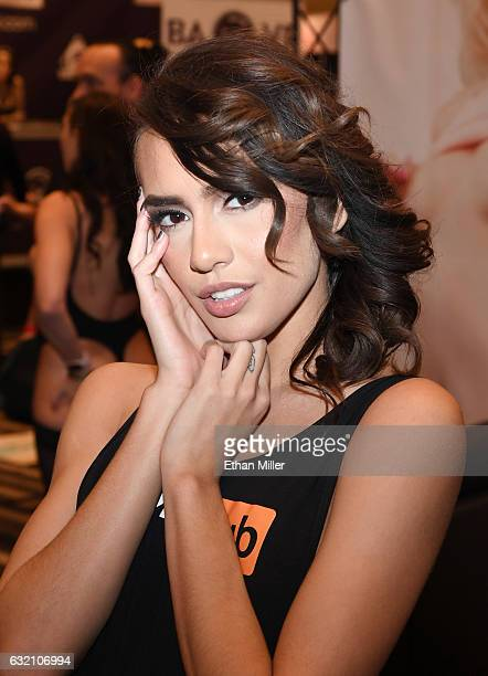 Adult film actress Janice Griffith appears at the Pornhub booth at the 2017 AVN Adult Entertainment Expo at the Hard Rock Hotel Casino on January 18...