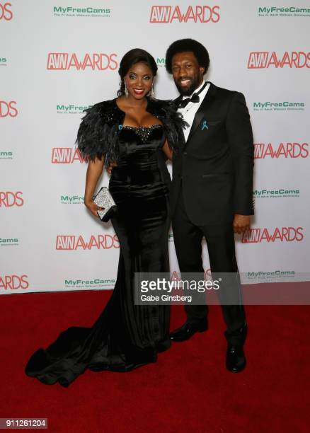 Adult Film Actress Jasmine Webb And Mr Webb Attend The 2018 Adult Video News Awards At