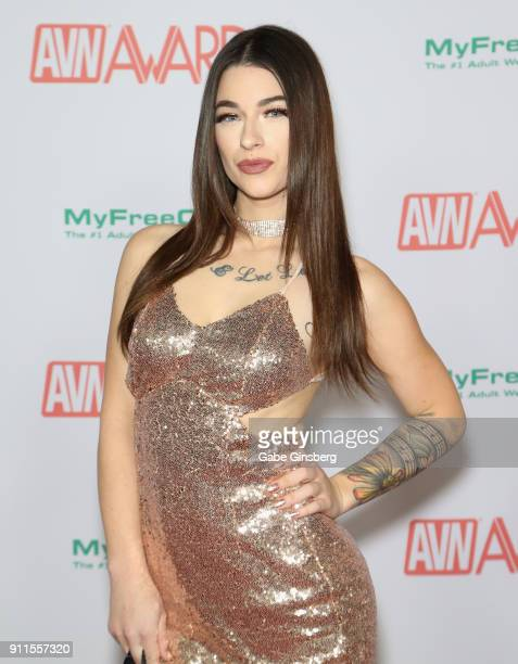 Adult film actress Jayde Symz attends the 2018 Adult Video News Awards at the Hard Rock Hotel Casino on January 27 2018 in Las Vegas Nevada