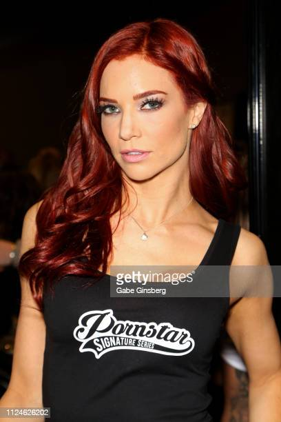 Adult film actress Jayden Cole poses in the Pornstar Signature series booth at the 2019 AVN Adult Entertainment Expo at the Hard Rock Hotel Casino on...