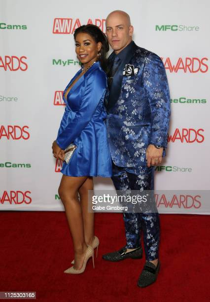 Adult film actress Jenna Foxx and adult film actor Derrick Pierce attend the 2019 Adult Video News Awards at The Joint inside the Hard Rock Hotel...