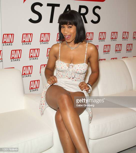 Adult film actress Jenna Foxx poses at the AVN Stars booth during the 2020 AVN Adult Expo at the Hard Rock Hotel Casino on January 24 2020 in Las...