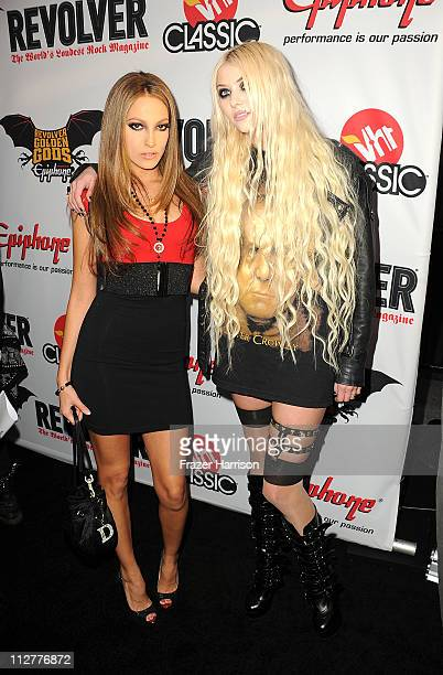 Adult film actress Jenna Haze and musician/actress Taylor Momsen arrive at the 3rd Annual Revolver Golden God Awards at the Club Nokia on April 20...