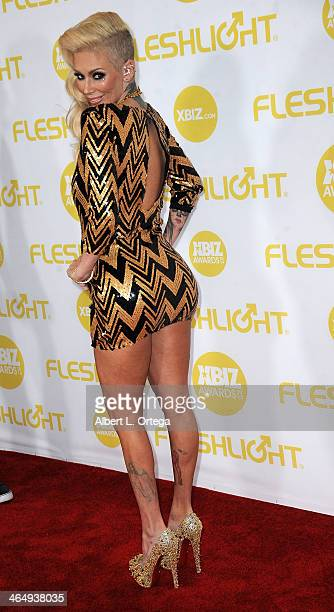 Adult film actress Jenna Jameson arrives for the 2014 XBIZ Awards held at The Hyatt Regency Century Plaza Hotel on January 24 2014 in Century City...