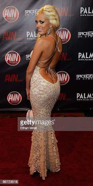 Adult film actress Jenny Hendrix arrives at the 27th annual Adult Video News Awards Show at the Palms Casino Resort January 9 2010 in Las Vegas Nevada