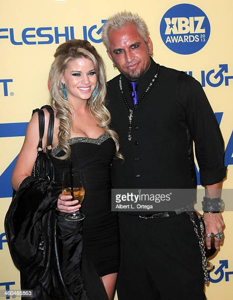 Adult film actress Jessa Rhodes and adult film actor Barrett Blade arrive for the 2013 XBIZ Awards held at the Hyatt Regency Century Plaza on January...