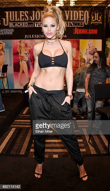 Adult film actress Jessa Rhodes appears at the Jules Jordan Video booth at the 2017 AVN Adult Entertainment Expo at the Hard Rock Hotel & Casino on...