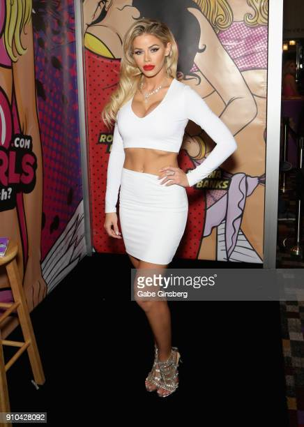 Adult film actress Jessa Rhodes poses at the Crush Girls booth during the 2018 AVN Adult Expo at The Joint inside the Hard Rock Hotel & Casino on...