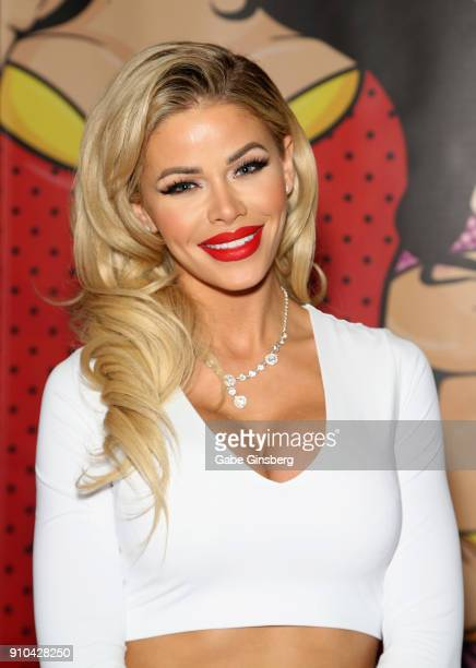Adult film actress Jessa Rhodes poses at the Crush Girls booth during the 2018 AVN Adult Expo at The Joint inside the Hard Rock Hotel Casino on...