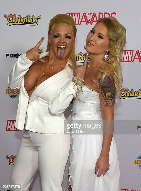 Adult film actress Jesse and model Trista Campbell attend the 2016 Adult Video News Awards at the Hard Rock Hotel Casino on January 23 2016 in Las...