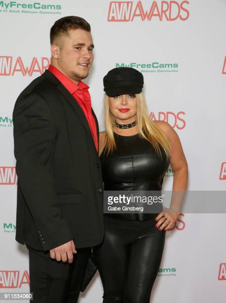 Adult film actress Jesse Jane and a guest attend the 2018 Adult Video News Awards at the Hard Rock Hotel Casino on January 27 2018 in Las Vegas Nevada