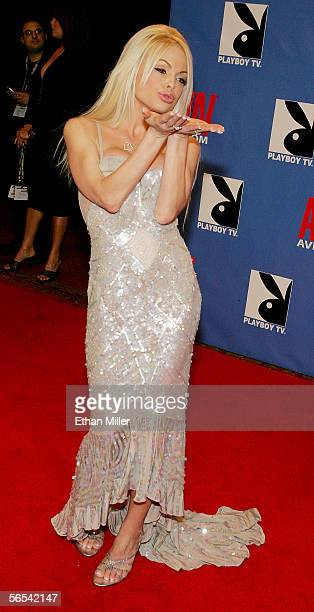 Adult film actress Jesse Jane blows a kiss as she arrives at the Adult Video News Awards Show at the Venetian Resort Hotel and Casino January 7 2006...
