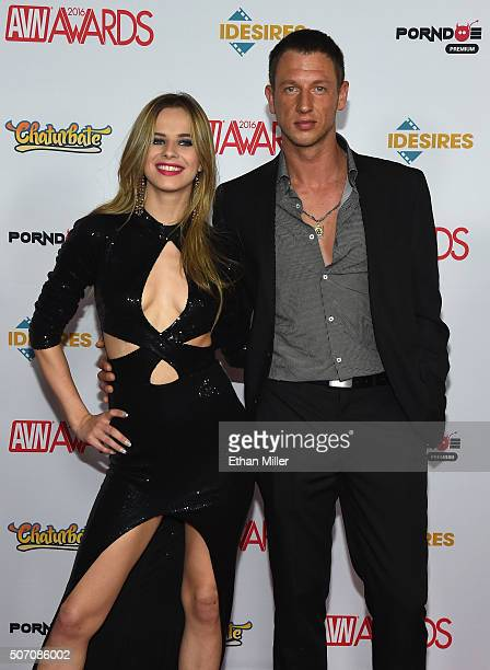 Adult film actress Jillian Janson and a guest attend the 2016 Adult Video News Awards at the Hard Rock Hotel Casino on January 23 2016 in Las Vegas...