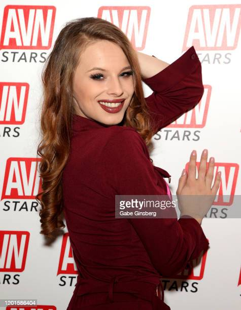 Adult film actress Jillian Janson poses at the AVN Stars booth during the 2020 AVN Adult Expo at the Hard Rock Hotel Casino on January 23 2020 in Las...