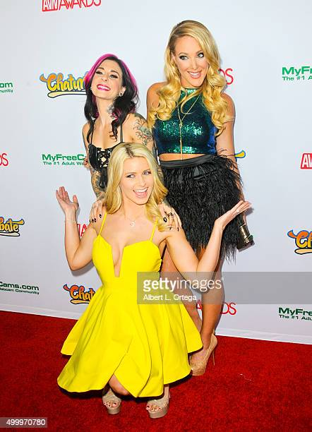 Adult film actress Joanna Angel comic Kate Quigley and adult film actress Anikka Albrite at the 2016 AVN Awards Nomination Party held at Avalon on...