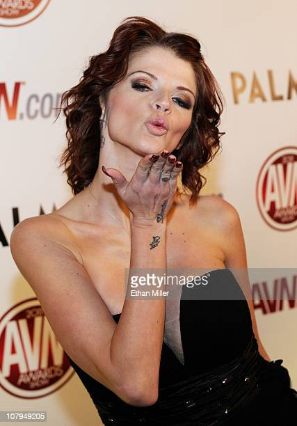 Adult film actress Joslyn James blows a kiss as she arrives at the 28th annual Adult Video News Awards Show at the Palms Casino Resort January 8 2011...