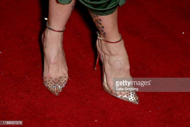 Adult film actress Joslyn James shoe detail attends the world premiere of the film LadyKillerTV at the Brenden Theatres inside Palms Casino Resort on...