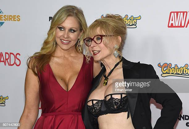 Adult film actress Julia Ann and adult film actress/director Nina Hartley attend the 2016 Adult Video News Awards at the Hard Rock Hotel Casino on...