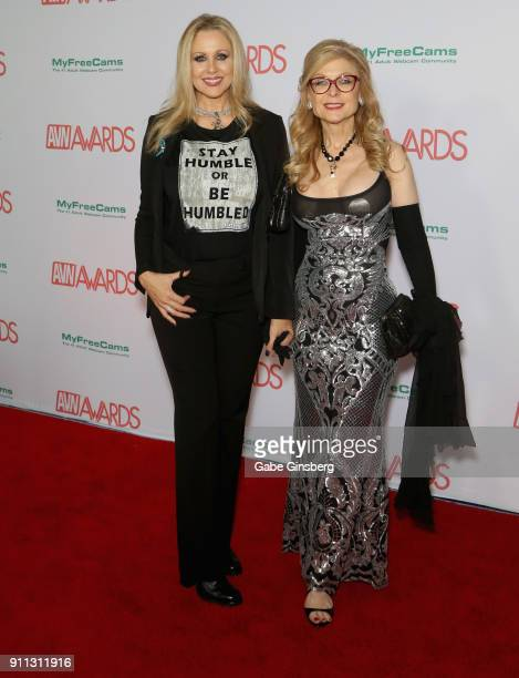 Adult film actress Julia Ann and adult film actress/director Nina Hartley attend the 2018 Adult Video News Awards at the Hard Rock Hotel Casino on...