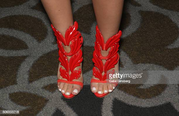 Adult film actress Jynx Maze shoes detail attends the 2016 AVN Adult Entertainment Expo at the Hard Rock Hotel Casino on January 22 2016 in Las Vegas...