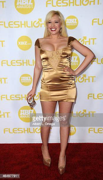 Adult film actress Kagney Linn Karter arrives for the 2014 XBIZ Awards held at The Hyatt Regency Century Plaza Hotel on January 24, 2014 in Century...