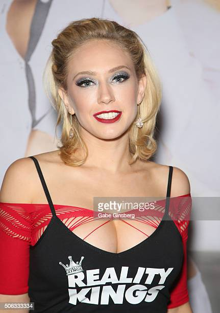 Adult film actress Kagney Linn Karter attends the 2016 AVN Adult Entertainment Expo at the Hard Rock Hotel & Casino on January 22, 2016 in Las Vegas,...
