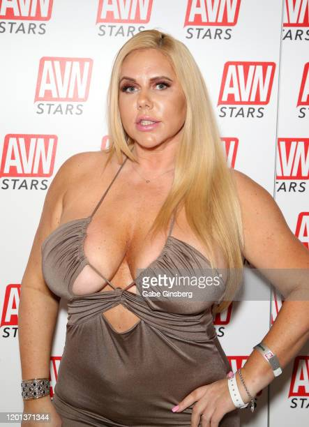 Adult film actress Karen Fisher poses in the AVN Stars booth during the 2020 AVN Adult Expo at the Hard Rock Hotel Casino on January 22 2020 in Las...