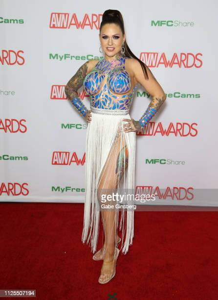 Adult film actress Karmen Karma attends the 2019 Adult Video News Awards at The Joint inside the Hard Rock Hotel Casino on January 26 2019 in Las...