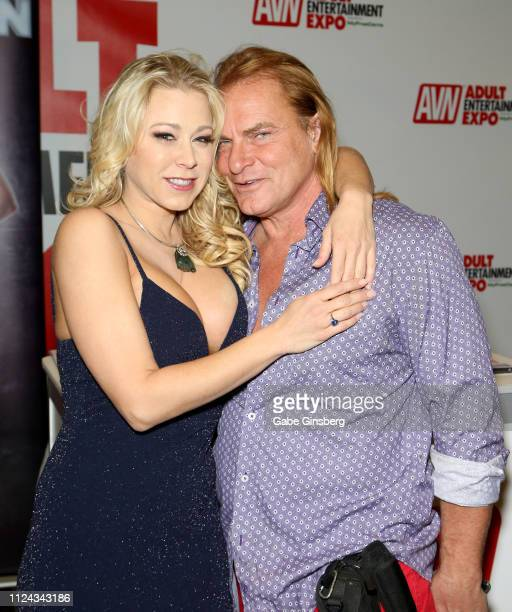Adult film actress Katie Morgan and adult film actor Evan Stone pose at the 2019 AVN Adult Entertainment Expo at the Hard Rock Hotel Casino on...