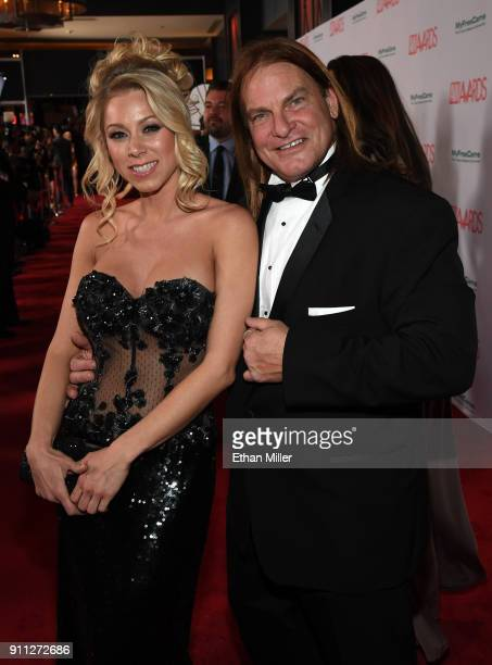 Adult film actress Katie Morgan and adult film actor Evan Stone attend the 2018 Adult Video News Awards at the Hard Rock Hotel Casino on January 27...