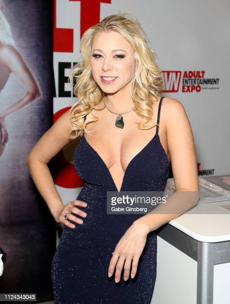 Adult film actress Katie Morgan poses at the 2019 AVN Adult Entertainment Expo at the Hard Rock Hotel Casino on January 23 2019 in Las Vegas Nevada
