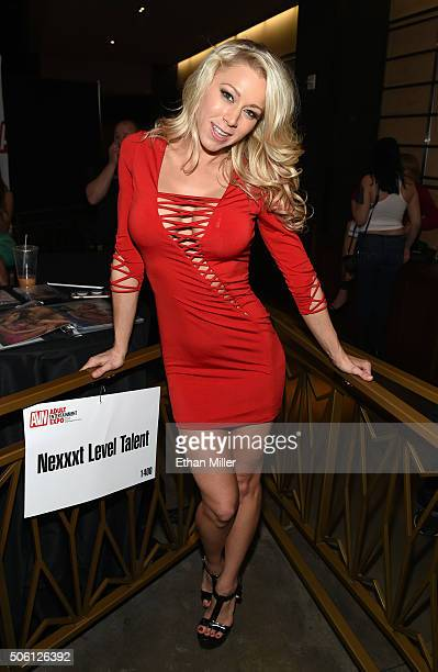 Adult film actress Katie Morgan poses at the Nexxxt Level Talent booth at the 2016 AVN Adult Entertainment Expo at The Joint inside the Hard Rock...