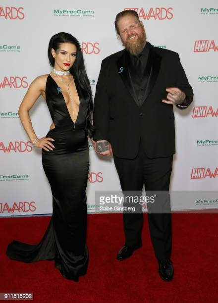 Adult film actress Katrina Jade and her husband photographer/director Nigel Dictator attend the 2018 Adult Video News Awards at the Hard Rock Hotel...