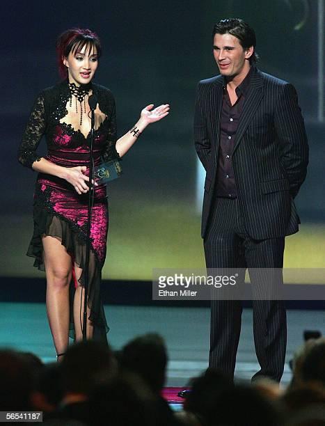 Adult film actress Katsumi and actor Manuel Ferrara accept an award at the Adult Video News Awards Show at the Venetian Resort Hotel and Casino...